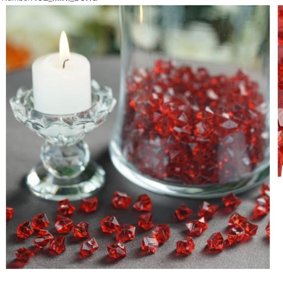 None Other - Red Acrylic Ice Bead Vase Fillers